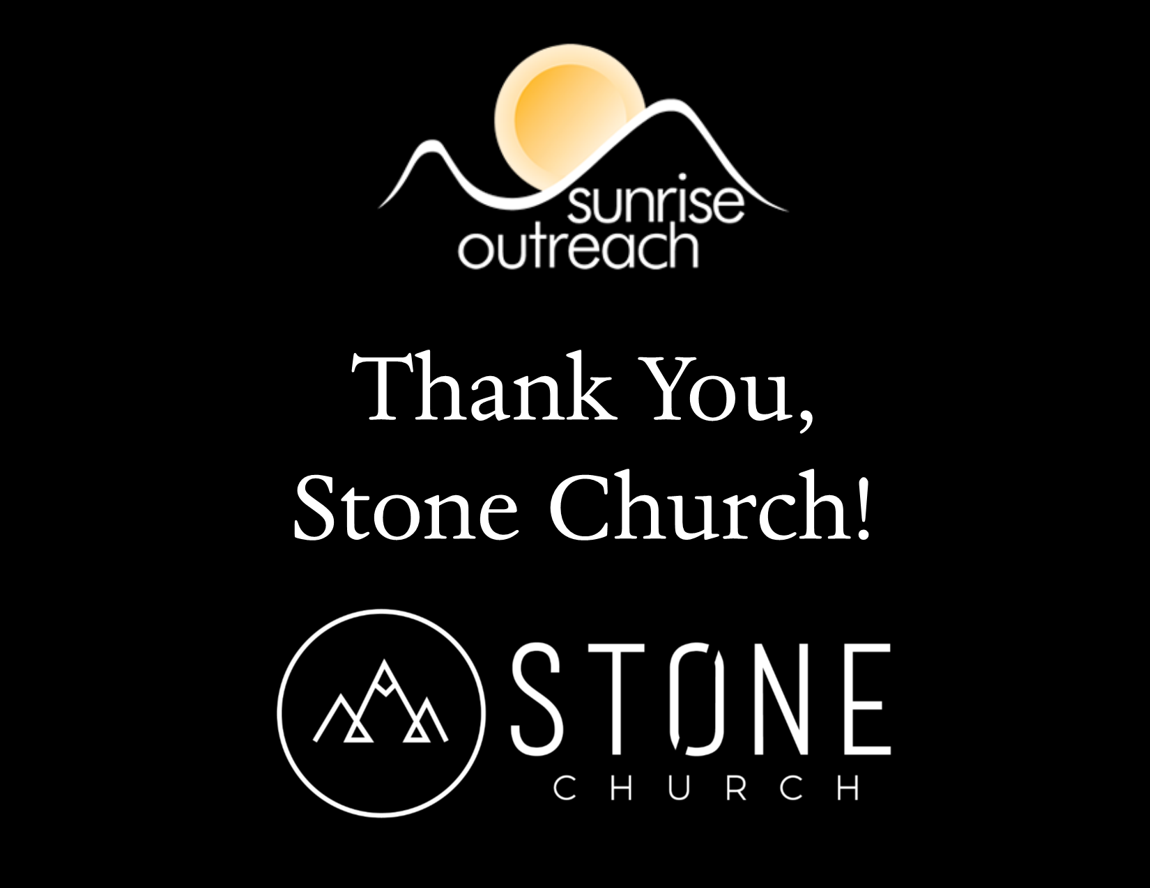 Thank you, Stone Church!